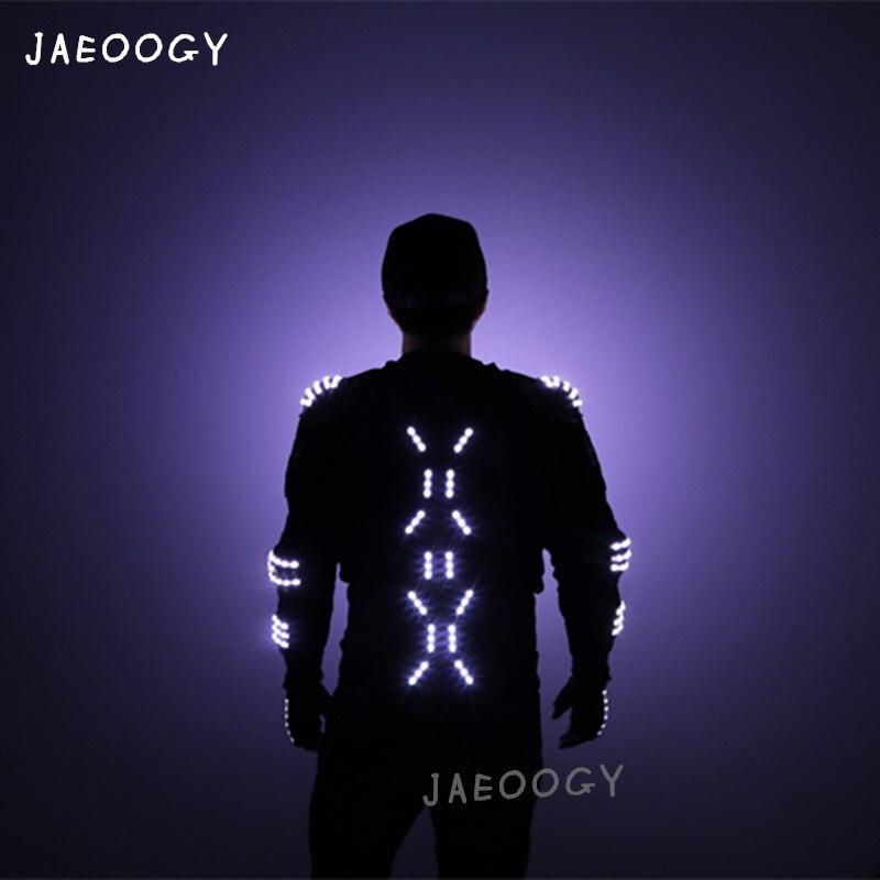 2019 Новое поступление модные СВЕТОДИОДНЫЙ Броня свет куртки костюм перчатки очки светодиодный Одежда светодиодный костюм для светодиодные