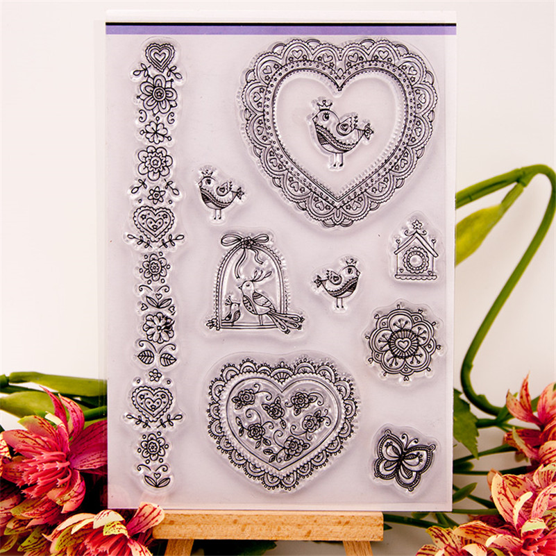 loveing and bird for diy scrapbooking photo album craft Transparent Clear Silicone stamp for wedding gift christmas gift CC-207 loving heart and angel design for diy scrapbooking photo album transparent clear silicone stamp for wedding gift cl 131