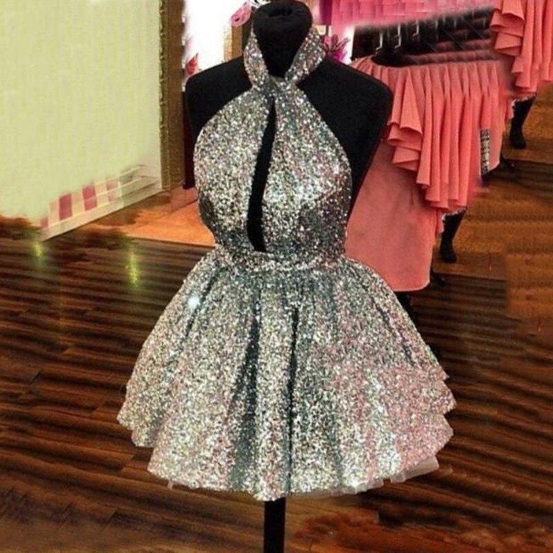 Argent Formelle Paillettes Soiree Festa Femme Robes Abendkleider Halter De Ruban Robe Courtes Curto fb6Y7gy