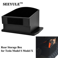 1pc SEEYULE Car Seat Back Center Storage Box Organizer Bag for Tesla Model X Model S Leather Container high quality Accessories