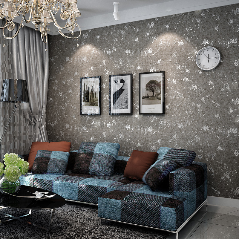 Non-woven wallpaper plain solid white living room TV backdrop bedroom vintage retro home study wall paper Individuality