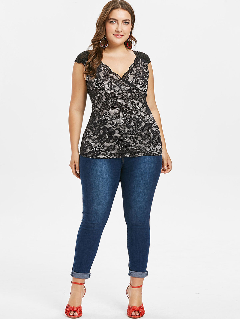 9c15fc48774 PlusMiss Plus Size 5XL Floral Lace Tunic Sleeveless Tops XXXXL XXXL XXL Women  Big Size Sexy Elegant V Neck Blouse Ladies Summer-in Blouses   Shirts from  ...