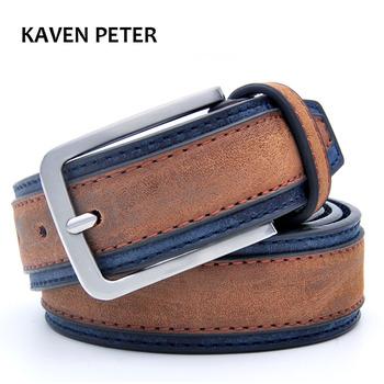 Casual patchwork mężczyźni pasy projektanci luksusowe mężczyźni Fashion Belt trendy spodnie z trzema kolorami aby wybrać bezpłatną wysyłkę tanie i dobre opinie Belts 5 0cm Z KAVENPETER Mężczyzn 3 4 cm 3 5 cm Cowskin PU Skóra sztuczna metal Dorosłych KMP038 PU + skóra klejona + skóra dzielona