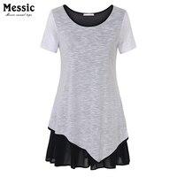 Messic Summer Short Sleeve Women Patchwork Chiffon Knit T Shirt Dress Irregular Hem Loose Plus Size