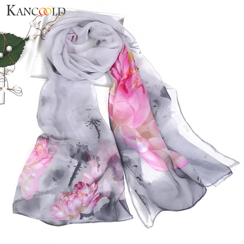 KANCOOLD   Scarf   Women Fashion Lotus Printing Long Soft   Wrap     Scarves   Ladies Shawl Chiffon high quality   scarf   women 2018Nov2