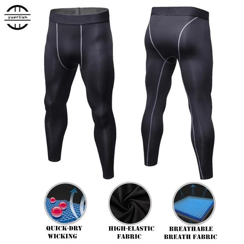 100pcs Men Shapers Exercise 3D Tight Fitness Full Length Pants Quick-dry Wicking High Elastic Breathable Compression Long Pants