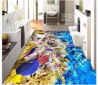 photo flooring wallpaper 3d PVC Floor painting wallpaper Seabed world 3D three dimensional floor painting wall home decoration