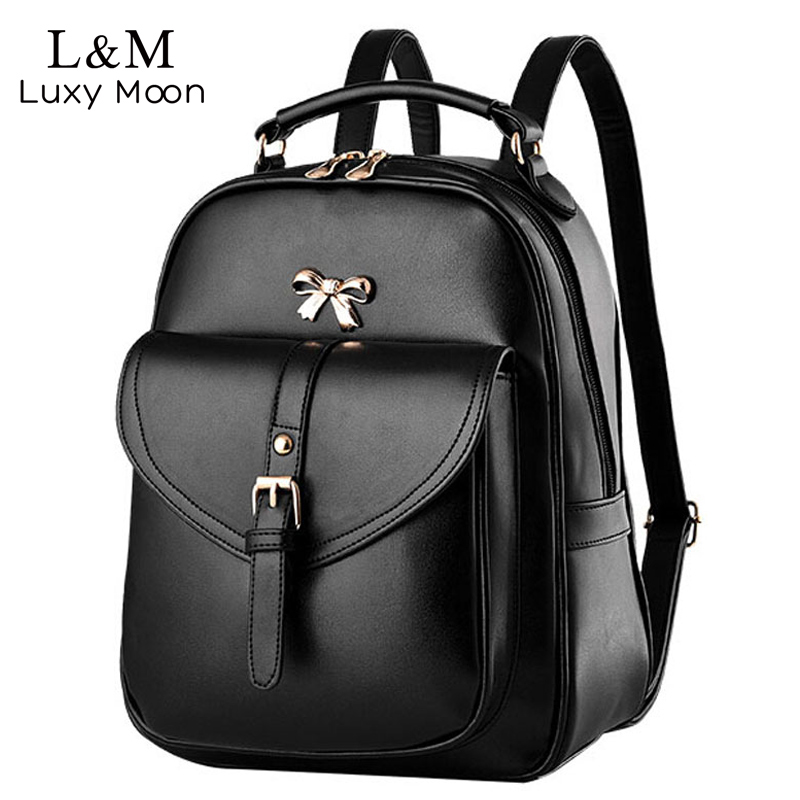 Women Black Leather Backpack Brand Quality Girls Travel School Bags Bow Knitting Woven Backpacks Black Large Bag Mochila Xa679h