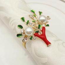 20PCS hotel supplies diamond Christmas tree napkin buckle pearl alloy ring mat towel