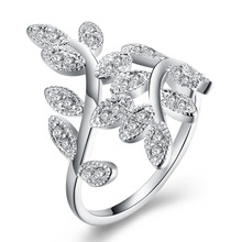 hot deal buy 2018 new 925 silver jewelry cute small leaves big white  clear zircon stone finger ring for women wedding  jewelry