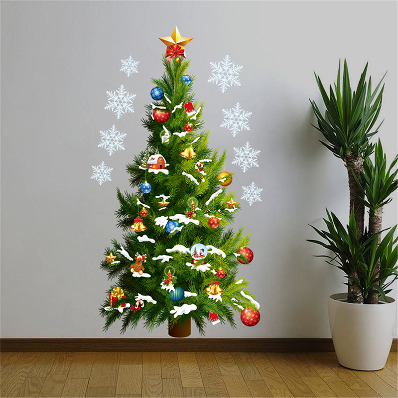 PVC Christmas Tree Wall Sticker Removable Xmas Paredes Windows Door Wall Stickers Posters New Year Home Decorations Ornaments in Wall Stickers from Home Garden