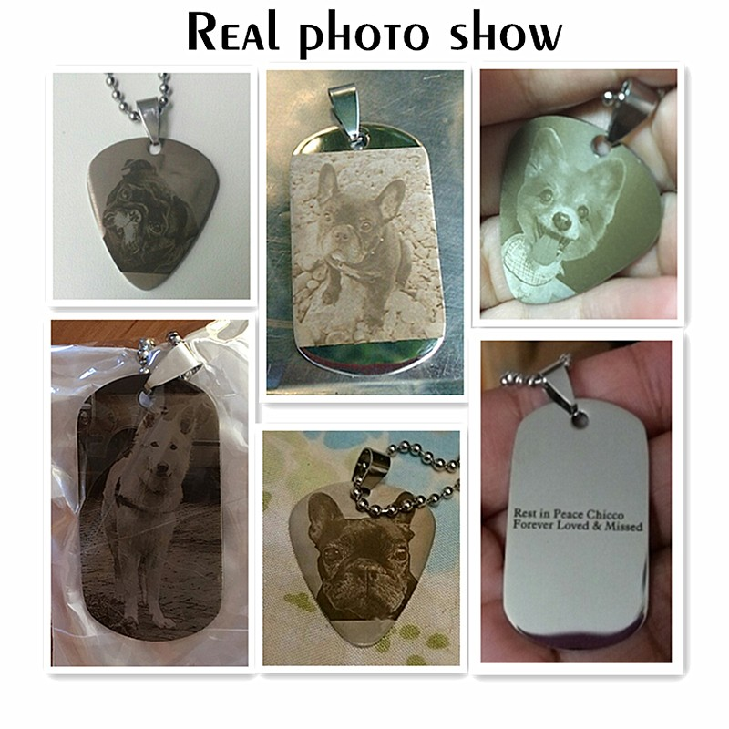 Customized Personalized Family Gift Photo Tag Custom Engraved Picture Necklace Stainless Steal Penda