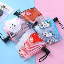 Korean transparent umbrella girl folding fully automatic open child student clear boy small fresh