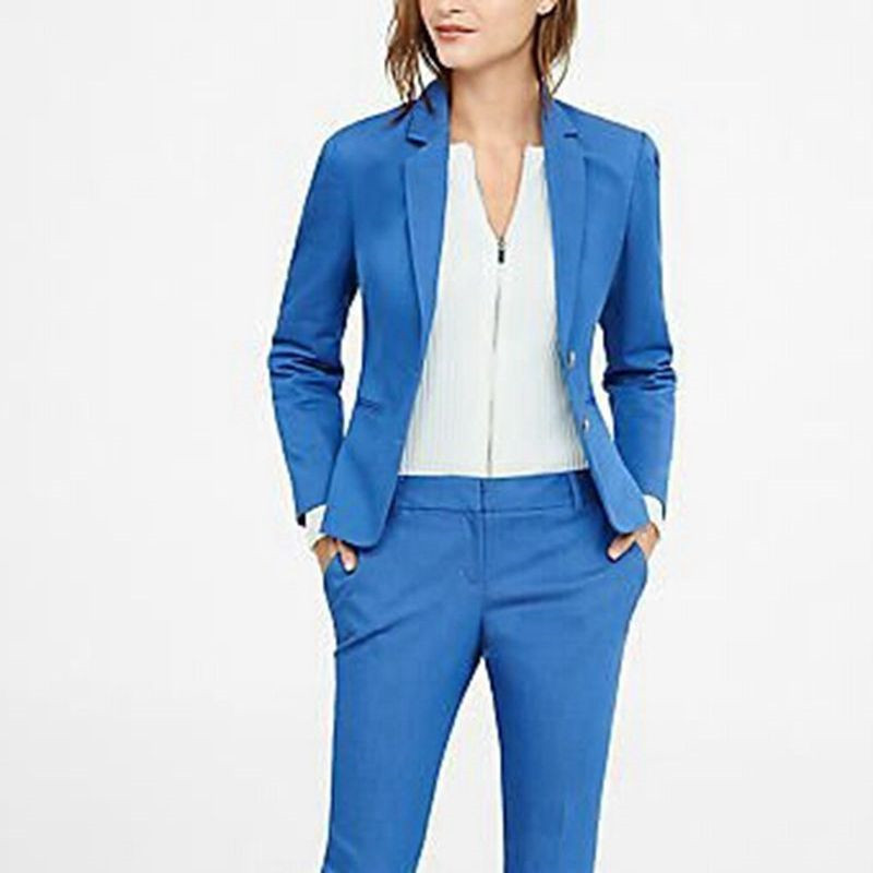 2019 New Arrival Blue Women's Formal Business Suits Women Slim Fit Custom Made 2 Pieces Suits Traje Mujer Jacket+Pants