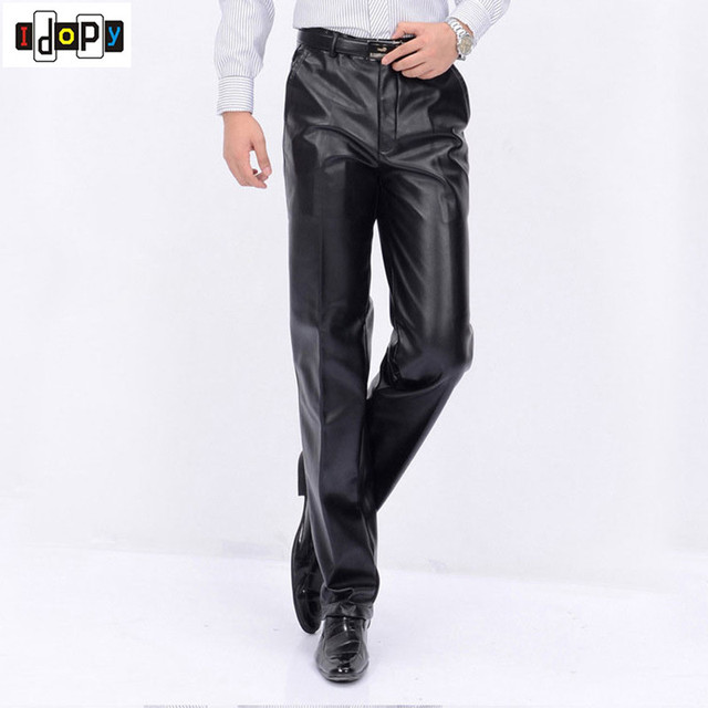 New Autumn Winter Mens Fashion PU Leather Pants Men Faux Leather Loose Straight Motorcycle Windproof Trousers Plus Size For Male
