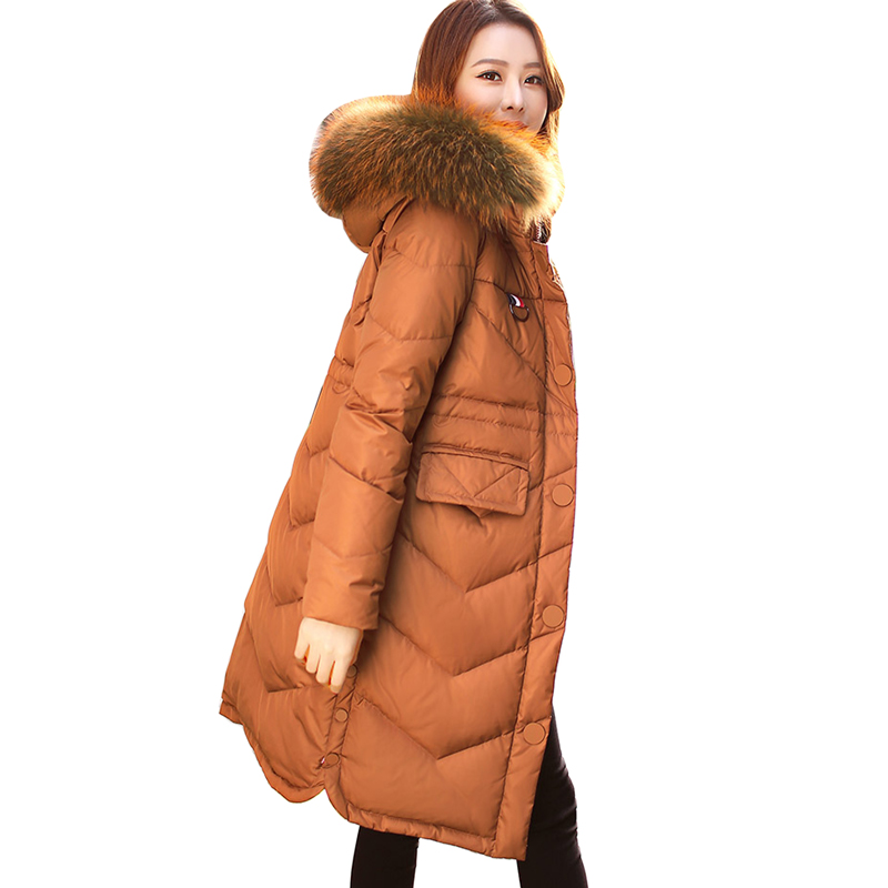90%   Down   Parka Winter Large Raccoon Fur Removable Collar Long Thicken   Down   Jackets hooded Warm Snow Outerwear   Down     Coats   Parkas