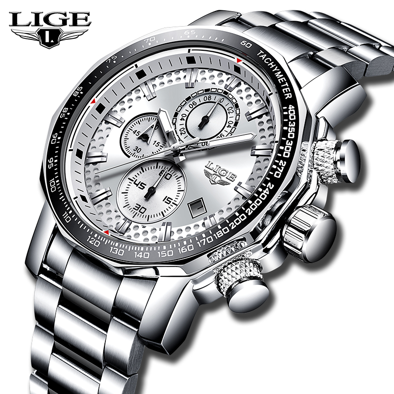 LIGE Top Brand Luxury Mens Watches All Steel Quartz Casual Sports Watch Waterproof Chronograph Mens Watch Relogio MasculinoLIGE Top Brand Luxury Mens Watches All Steel Quartz Casual Sports Watch Waterproof Chronograph Mens Watch Relogio Masculino