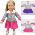 "1 piece purple or pink shirt dress for 18"" 45cm American girl school suit for baby doll clothes for alexander doll dress up"