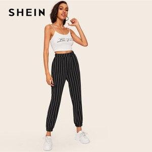 Image 5 - SHEIN Slant Pocket Verticale Gestreepte Broek Vrouwen Lente Toevallige Elastische Taille Broek Zwart Regelmatige Mid Taille Streetwear Broek