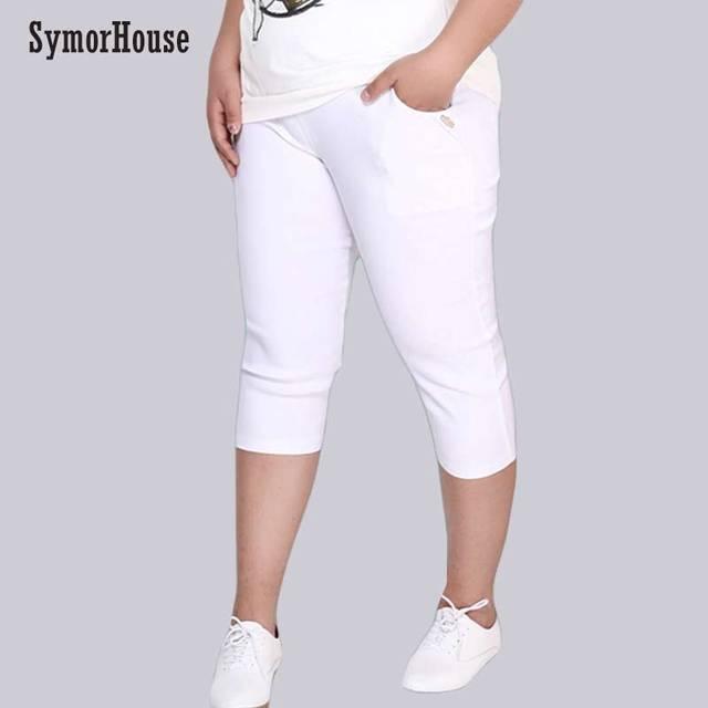 プラスサイズの女性の弾性パンツカプリパンツ 6XL 5XL 良質ハイウエスト作物スーパーストレッチサマーふくらはぎ丈鉛筆のズボン