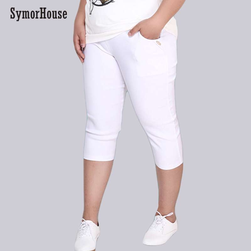 Plus Size Female Elastic Pants Capris 6XL 5XL Good Quality High Waist Women Crops Super Stretch Summer Calf-length Pencil Pants