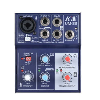 3-Channel Sound Card Mixing Console Digital Audio Mixer Supports 5V Power Bank USB Power Supply Built-in Phantom Power for Live