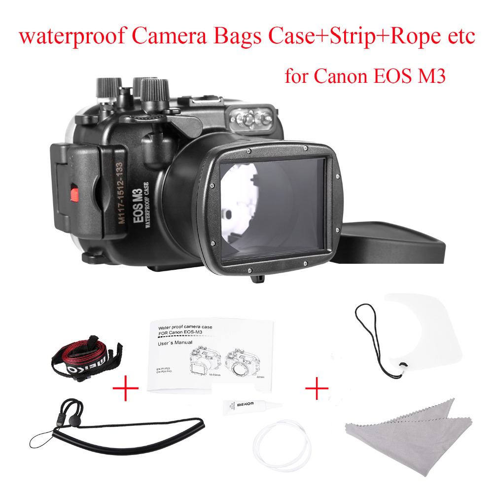 Meikon 40m/130ft waterproof Camera Housing Case for Canon EOS M3 (18-55mm Port),Underwater Camera Bags Case for Canon EOS M3 40m 130ft waterproof underwater camera housing case cover bag for canon eos 600d t3i camera two hands tray