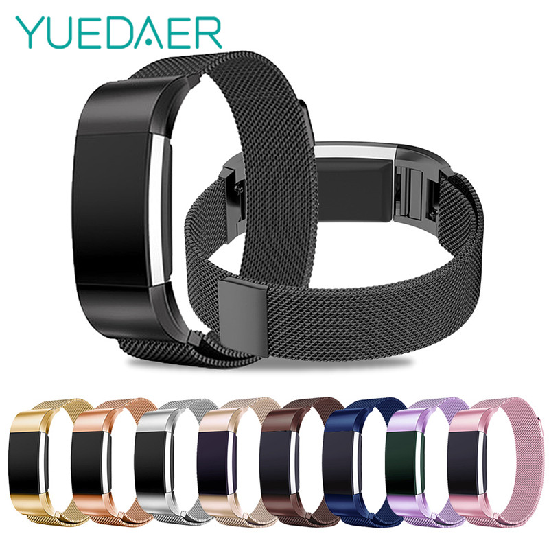 New Milanese Loop Band for Fitbit Charge 2 strap Stainless Steel Magnetic watchband S/L Replacement bracelet for fitbit charge2