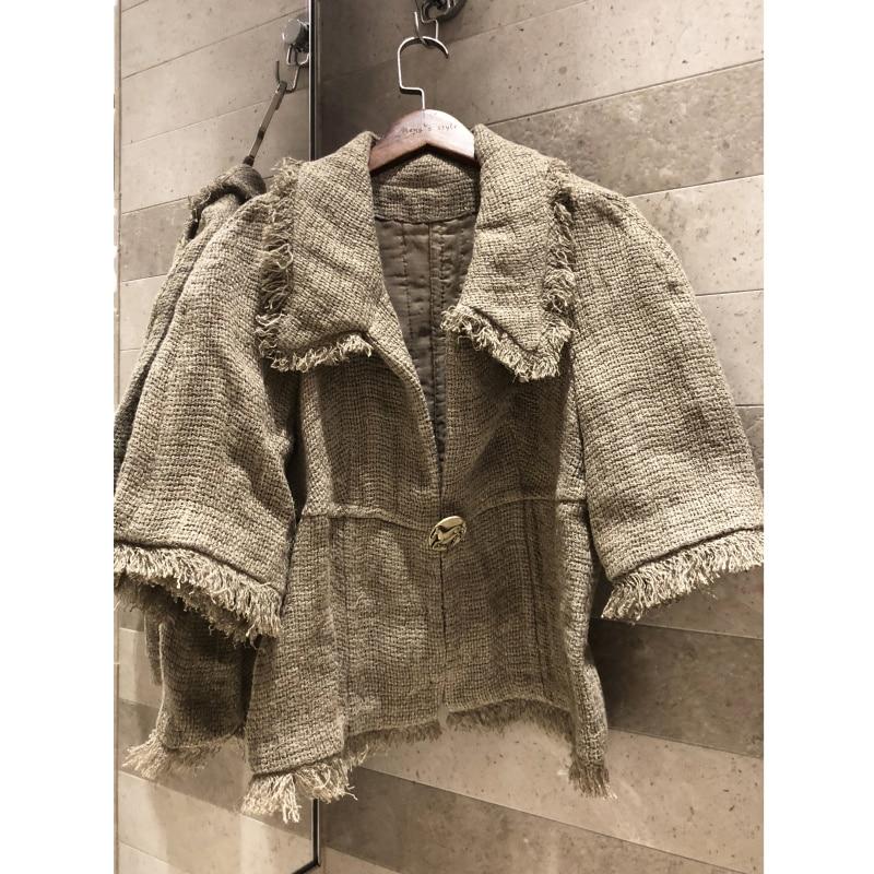 Women s Jacket 2019 Sleeve Lapel Retro Short Jacket High Quality Women s Woven linen fabric