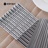 10 Pairs 304 Stainless Steel Square Chopsticks Printing Patterns Chinese Chopsticks