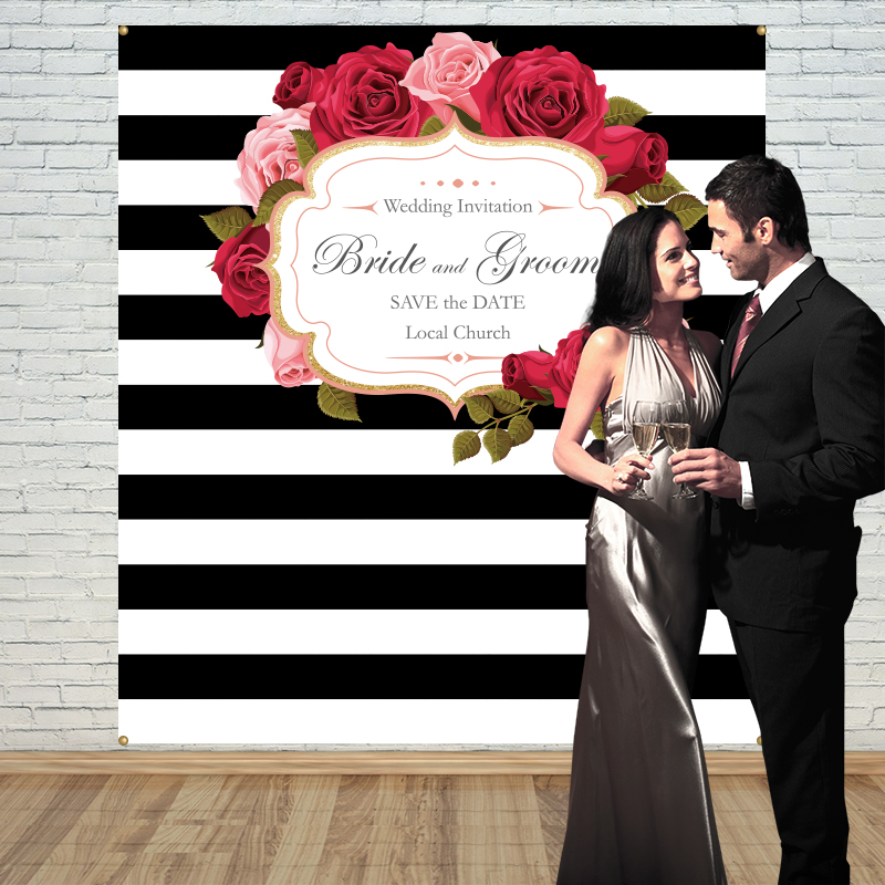 Allenjoy wedding rose backdrops Step and Repeat Background photobooth Anniversary party banner Invitation celebration customize allenjoy backdrops baby shower background pink stripe rose gold circle birthday invitation celebration party customize