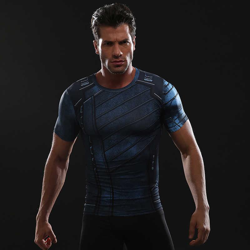Musim dingin Soldier 3D Dicetak T shirt Pria Kemeja 2018 Komik Avengers 3 Kompresi Cosplay Costume Lengan Pendek Tops Untuk Pria