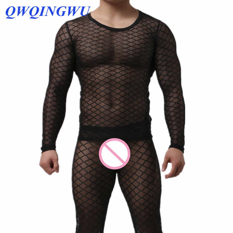 Sexy Men Undershirt Underwear Long Sleeves O-Neck Mesh Fishnet Transparent Sleepwear Nightwear Mesh Underwear Undershirts