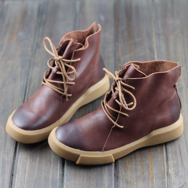 Careaymade handmade head layer leather flat bottom short boots cowhide RETRO art Mori Department leisure female