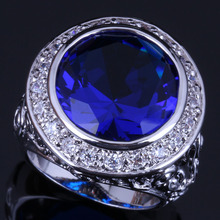 Unusual Big Round Blue Cubic Zirconia White CZ 925 Sterling Silver Ring For Women V0565