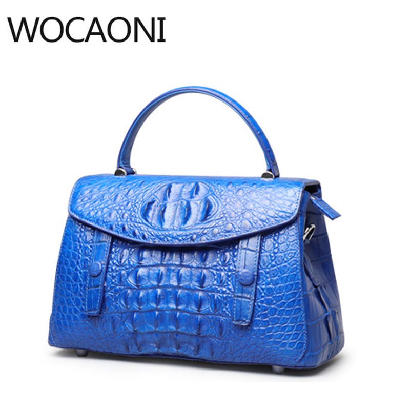 WOCAONI The new crocodile handbag leather shoulder bag handbag female crocodile bag delin foreign female bag bag handbag shoulder aslant crocodile grain lady handbags package a undertakes the new trend
