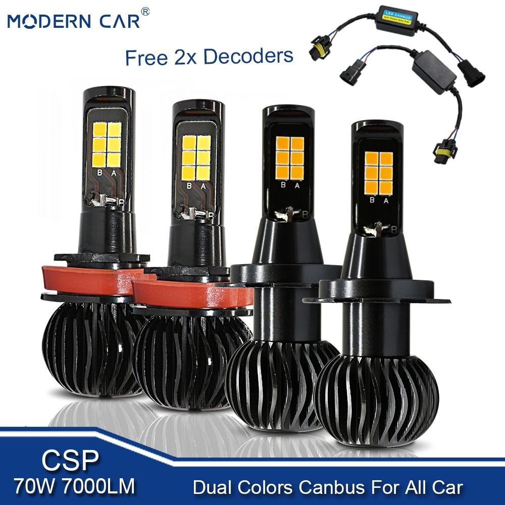MODERN CAR 70W Fog Light Bulb Dual Color White/Yellow H11 H4 H7 H1 H3 880 9005 9006 Auto LED Headlights Front Fog Lamp Bulbs 12V