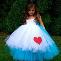 Alice In Wonderland Christmas Party Cosplay Girls TUTU Dress Customize 2015 Handmade Designer Organza Dress Free