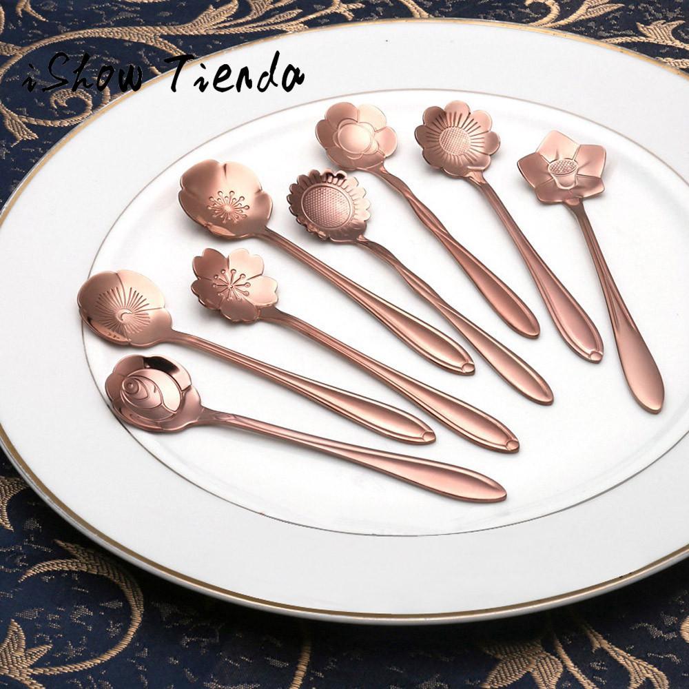 Vintage Flower Shape Icecream Tea Coffee Spoon Small Condiment Spoons Sugar Soup#25
