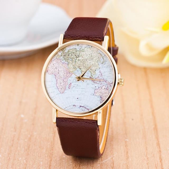 CAY Fashion Women Watches 2018 World Map Women Men Quartz Watch Casual Leather Ladies Wrist Watch Female Clock Relogio Feminino