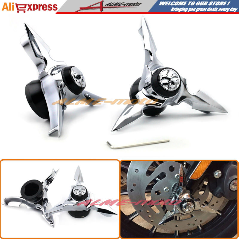 Motorcycle Front Axle Black Skull Spun Blade Spinning Axle Caps Cover Chrome For Harley Sportster Dynas