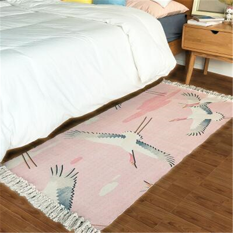 AOVOLL Chinese Soft Cotton Carpets For Living Room Bedroom Kid Room Rugs Tassel Home Carpet Floor Door Mat Creative Area Rug Mat