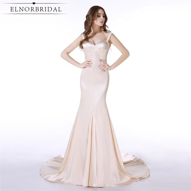 Simple Champagne Prom Dresses Mermaid 2017 Plus Size Open Back Robe De Bal Formal Women Evening Party Dress