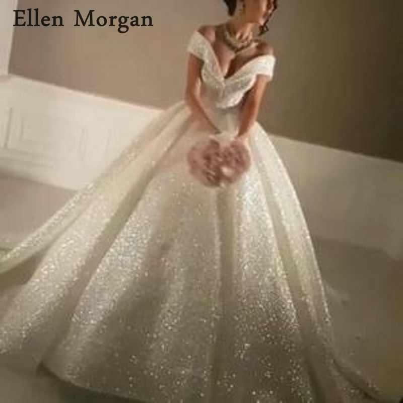 Saudi Arabia Glitter Ball Gowns Wedding Dresses Real Life Puffy