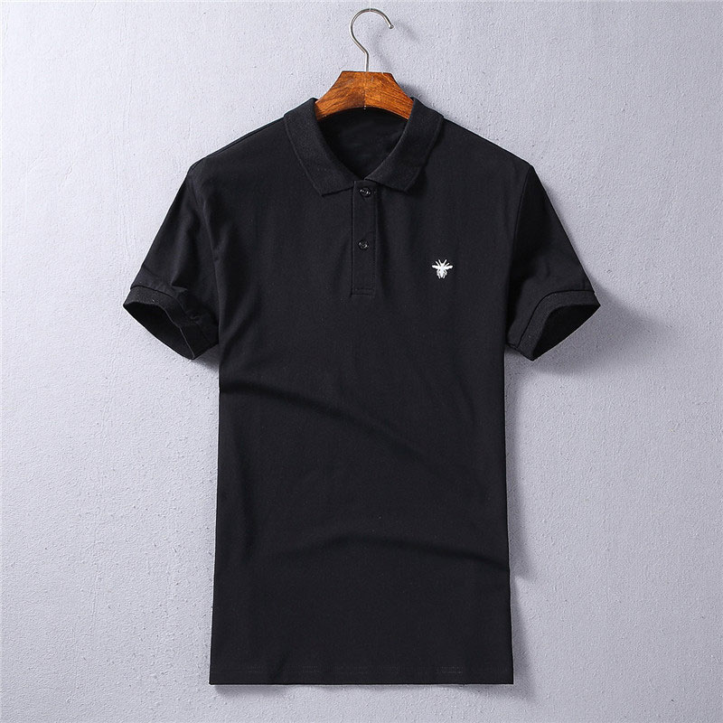 2018 Brand Bee Embroidery Mens   Polo   Shirts Fashion Pattern Short Sleeve High Quality Straight 100% Cotton   Polos   Male 4 Colors