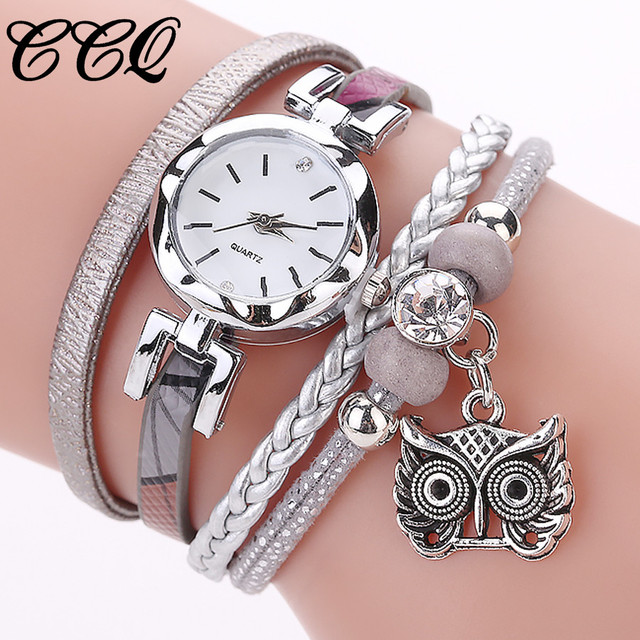 CCQ Fashion Women Watches Analog Quartz Watches Owl Pendant Ladies Dress Bracele