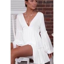 2019 Vintage splice white Ruffle Dress Spring Summer Women Mesh Long Sleeve Short Sexy V Neck Layered Mini Robe