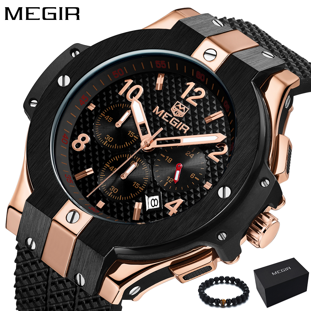 Fashion Megir Mens Watches Top Brand Luxury Rose gold Watch Men Military Army Chronograph Quartz Sport Wristwatch Man Clock 2018 megir fashion watch leather band men quartz watches brand waterproof clock luxury sport man wristwatch army style montre homme