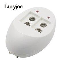 Larryjoe mini carregador de bateria dupla, carregador de bateria de brinquedo para 6f22 9v lítio ni mh ni cd ue/eua carregador portátil