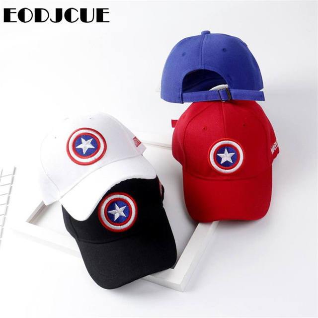 Children Cartoon Cotton Baseball Caps Captain America Pentagram Shield Embroidery hip-hop cap Visor Mesh cap For Boys Girls Kids